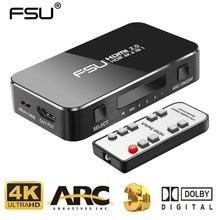 FSU rozdzielacz HDMI 4 wejście 1 wyjście przełącznik HDMI HDR 4x1 dla HDTV PS4 4K z ekstraktor Audio 3.5 Jack ARC przełącznik HDMI er Adapter