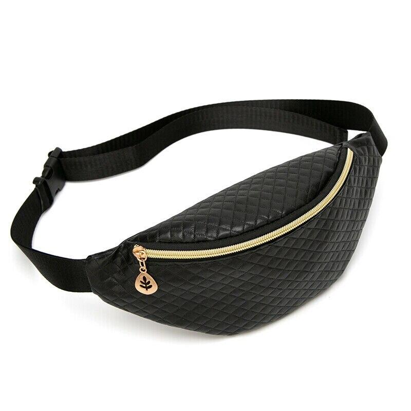 Women Bum Adjustable Belt Bag Fanny Pack Pouch Travel Hip Purse Waist Festival Money Belt Leather Holiday Wallet Black Gold