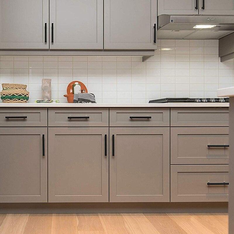 SHGO HOT Flat Black Modern Cabinet Hardware Drawer Handle Kitchen Cupboard T Bar Pull Dresser Knobs Set Hole To Hole Spacing 25 Cabinet Knobs     - title=