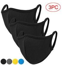 3 pçs men women tecido máscaras respirável esporte rosto máscaras capas de boca unisex máscara facial à prova de poeira lavável ao ar livre mascarillas