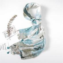 Tock милый Западный хлопковый и льняной шарф с чернилами женский