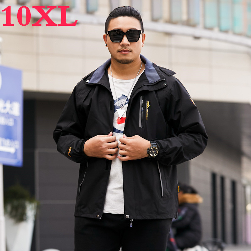 New Big Plus Size 10XL 9XL 8XL Waterproof  Winter  Jacket Men Warm 2 In 1 Parkas Windproof Detachable Hood Thicken Winter Coat