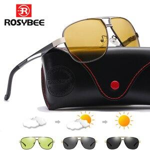 Image 1 - 2020 جديد فوتوكروميك النظارات الشمسية الاستقطاب يوم للرؤية الليلية الألومنيوم الرجال سائق الأصفر الذكور نظارات للقيادة oculos دي سول