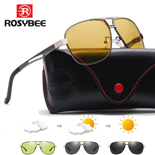 2020 جديد فوتوكروميك النظارات الشمسية الاستقطاب يوم للرؤية الليلية الألومنيوم الرجال سائق الأصفر الذكور نظارات للقيادة oculos دي سول