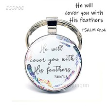 He Will Cover You with His Feathers Bible Verse Quote Key Chain Psalm Keychain Glass Dome Jewelry Christian Pendant Keyring Gift(China)
