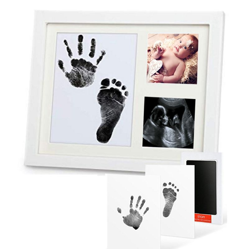 Baby Footprint Kit Handprint Picture Frame With Safe And Non-Toxic Ink Pad Perfect Newborn Keepsakes Girls Boys Shower Gift E65D
