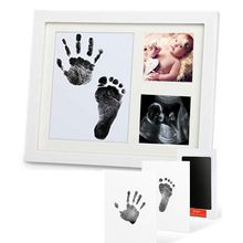 Get more info on the Baby Footprint Kit Handprint Picture Frame with Safe and Non-Toxic Ink Pad Perfect Newborn Keepsakes Girls Boys Shower Gift E65D