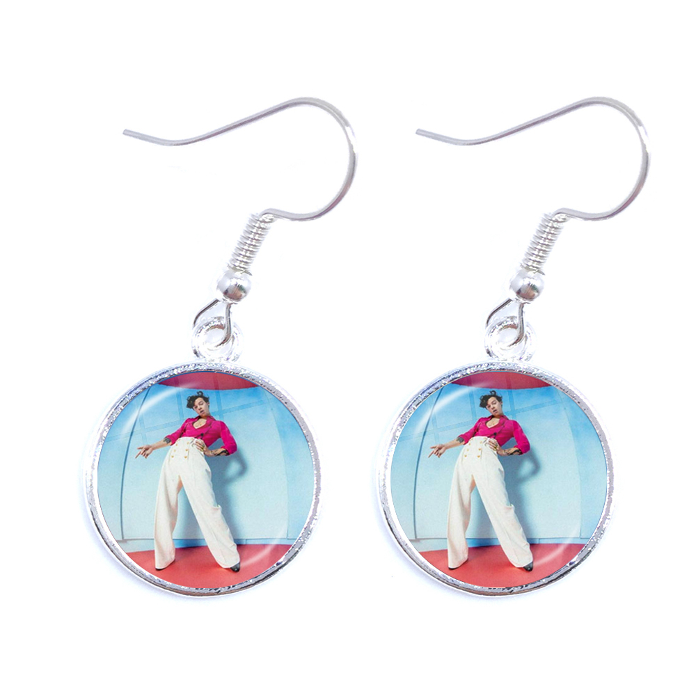 Harry Styles Love On Tour 2020 Fine Line Silver-plated Drop Earrings Glass Cabochon Ear Jewelry For Women GIrls Fans Gift