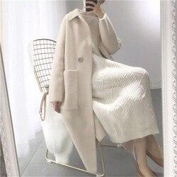 2019 herbst Winter Frauen Mode Lose Beiläufige Oversize Pullover Beige Kaschmir Lange Strickjacke Jacke Chic Wolle Warm Gestrickte Mäntel