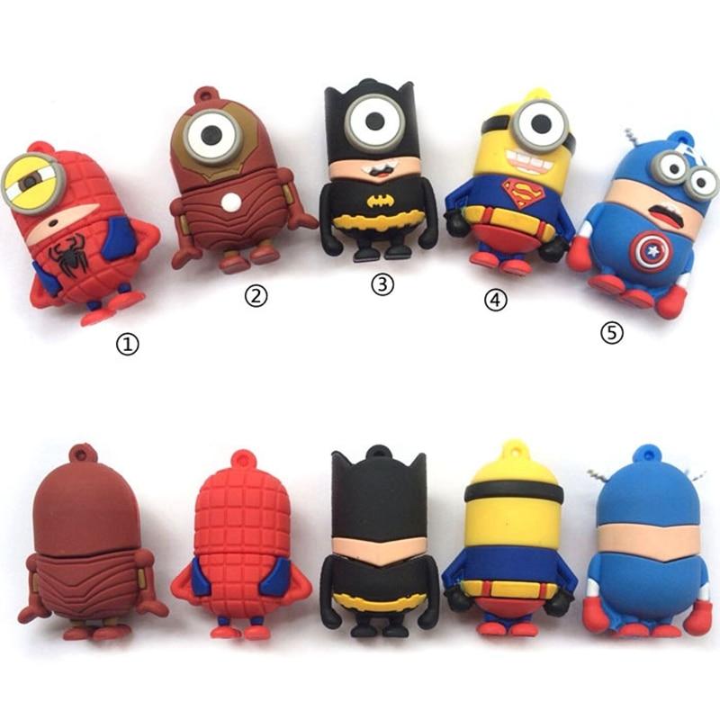 Cartoon Hero USB Flash Drive Super Man Pen Drive 4GB 8GB 16GB 32GB 64GB 128GB Pendrive Toy USB Stick Personalized Mini USB Key