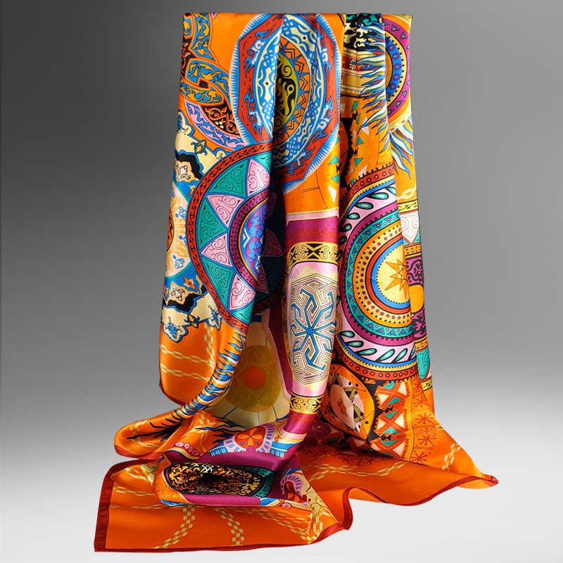 Donne Piazza Sciarpa di Seta 88*88cm di Marca 2020 Scialli e Impacchi per le Signore D'epoca Giallo Stampato 100% Seta sciarpe Quadrate Bandana