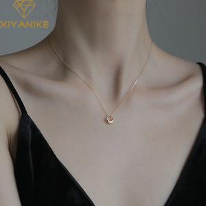 XIYANIKE Minimalist 925 Sterling Silver Charm Necklace for Women Couples Trendy Elegant Geometric Pendant Clavicle Chain Jewelry