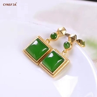 CYNSFJA New Real Certified Natural Hetian Jasper 925 Sterling Silver Handmade Amulets Green Jade Earrings high Quality Best Gift