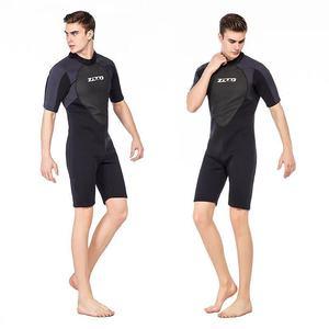 Image 2 - גברים חליפת צלילה שורטי 3mm Neoprene חורף חזרה Zip בגד ים לשחייה שנורקלינג גלישת קיאקים צלילה חליפה