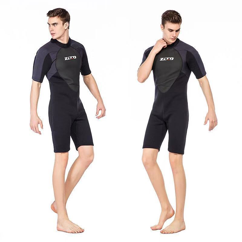 Image 2 - Men Wetsuit Shorty 3mm Neoprene Winter Back Zip Swimsuit for Swimming Surfing Snorkeling Kayaking Scuba Diving Suit-in Wetsuit from Sports & Entertainment