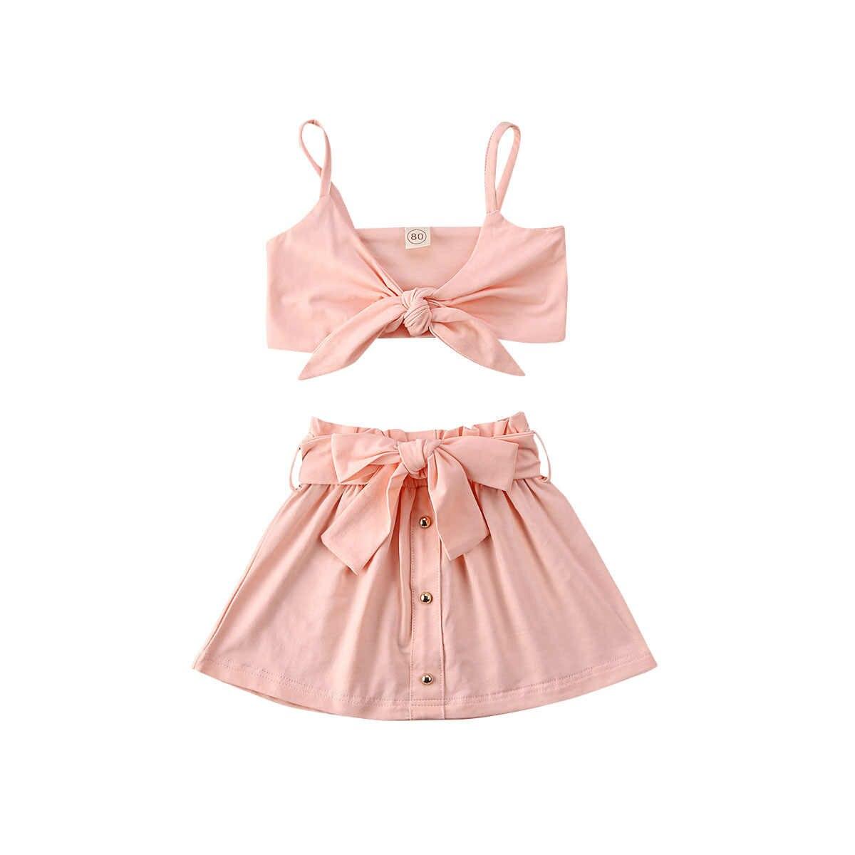 Verano bebé Infante niños niñas conjuntos de ropa Rosa Bowknot camiseta sin mangas camisetas + falda conjuntos de ropa