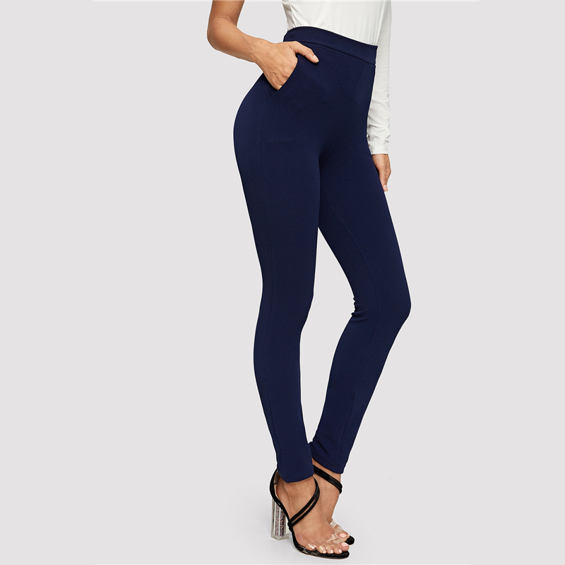 SHEIN Elastic Waist Mid Waist Skinny Trousers Autumn Office Lady Elegant Slim Fit Vertical Women Pencil Pants 22
