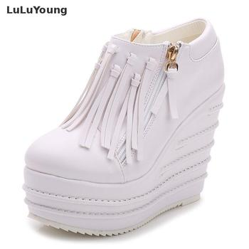 Tassel Boots Women Autumn Ankle Boots for woman Cool Motorcycle Boots winter red white black boots