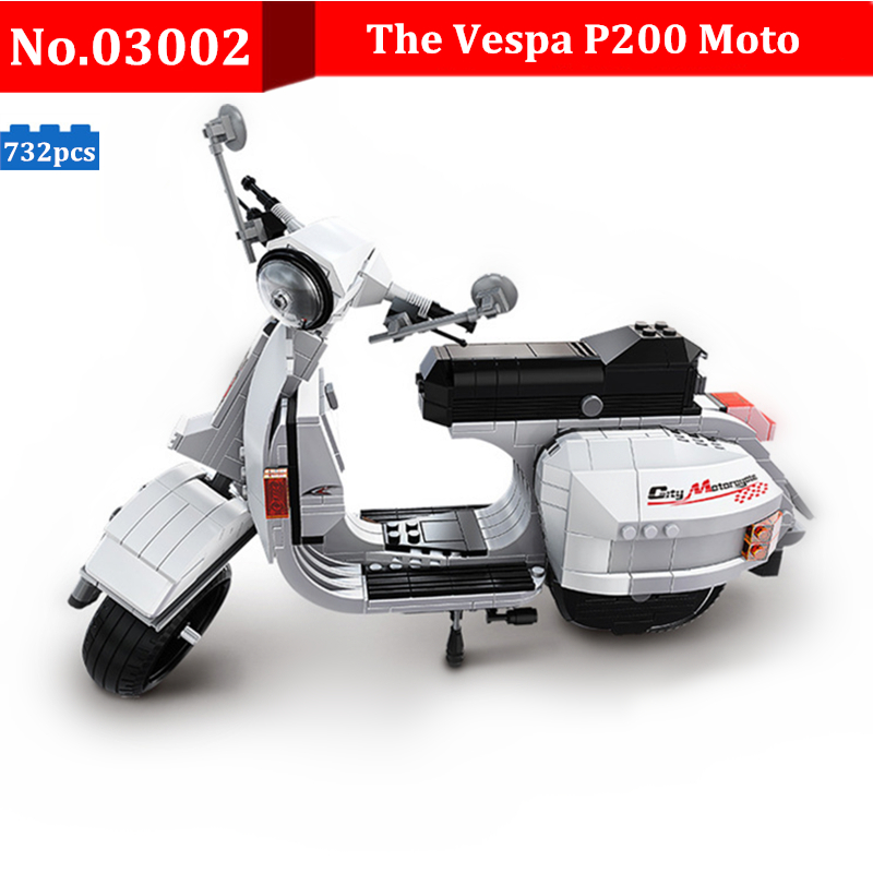 732pcs DIY Building Blocks Genuine Creative Technic Classic Series The Vespa P200 Motor Model Bricks Kids Toys For Children Gift