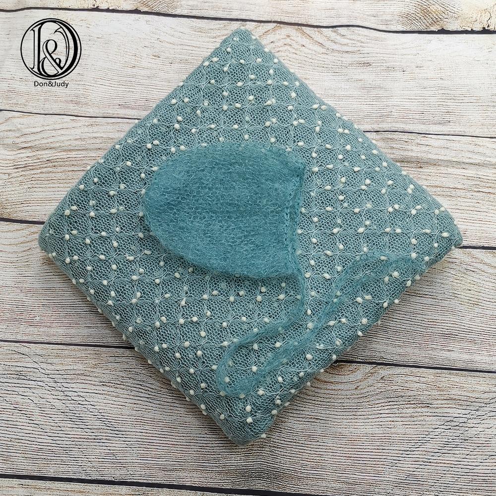 Don&Judy Fabrics Backdrop + Hat 2pcs/set Accessories Blanket Bonnet Cap For Newborn Photography Prop Photo Shoot