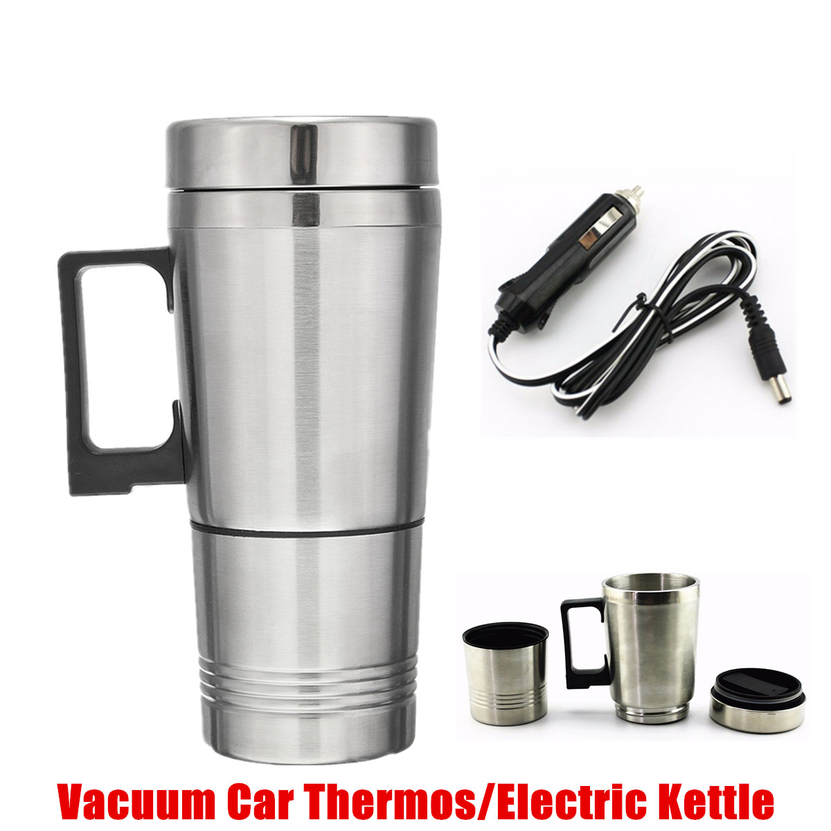 12V Stainless Steel Car Heating Cup Milk Water Tea Coffee Bottle Warmer Heated Travel Mug Traveling Camping Vehicle Heating Cup