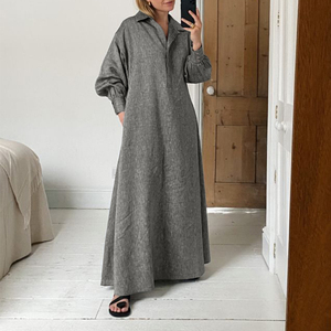 Dress For Women'Solid Sundress Vintage Lapel Pleated Kaftan Dress Long Robe Femme VONDA Plus Size Long Vestidos 5XL