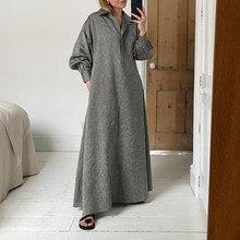 Winter Dress For Women'Solid Sundress Vintage Lapel Pleated Kaftan Dress Long Robe Femme VONDA Plus Size Long Vestidos 5XL
