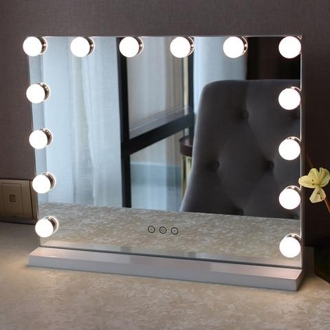 Espelho de vaidade frameless varejo com luz hollywood maquiagem iluminado espelho 3 cor luz espelho