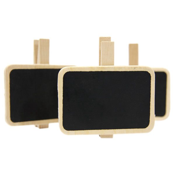 6 Wooden Clothespins Clips With Slate - 90mm