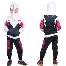Kids Children Superhero Spider-Man: Into the Spider-Verse Gwen Stacy Cosplay Costume Coat Hoodies