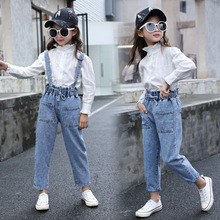 цена на Kids Denim Overall for Girls Children Spring Autumn Suspenders Jeans Teenage Jumpsuit Casual Girls Denim Overalls 3-14 Years