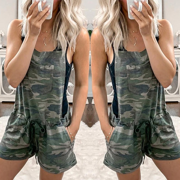 WEPBEL Playsuit Women's Camouflage Printed Strap Drawstring Elastic Waist Pocket Jumpsuit Playsuits Fashion Summer New