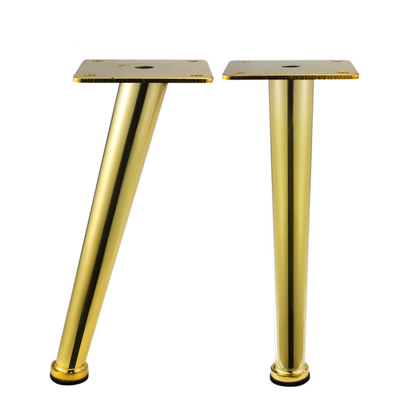 Gold Metal Furniture Leg Cone Tube Inclined Sofa Foot For Cabinet Table Legs Rubber Foot Screw Furniture Accessories