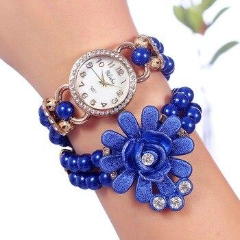 2020 New Brand Fashion Rhinestone Women Watch Black Pearl Flower Bracelet Quartz Relogio Feminino