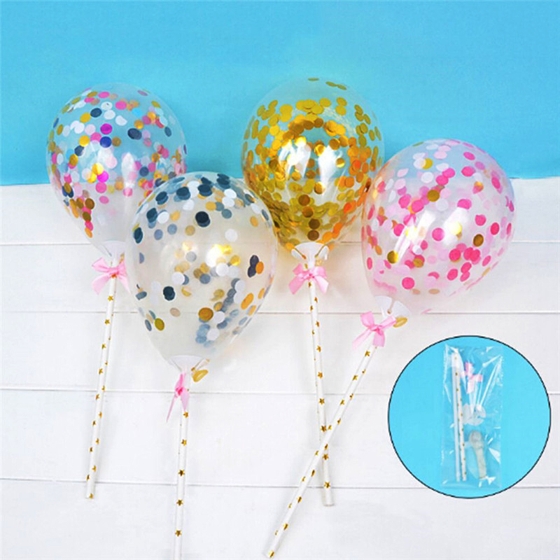 Mini Confetti Latex Balloons Gold Star Foil Transparent Wedding Kids Cake Topper Birthday Decoration Supplies