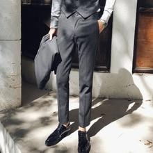 Pantalones de vestir para hombres Slim Fit Grey Black Pantalón de vestir