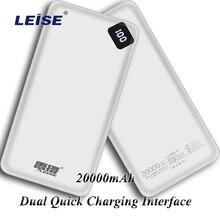 Cargador de batería externa de carga portátil de 20000mAh para Samsung IPhone Xiaomi Mi redmi Cable gratis