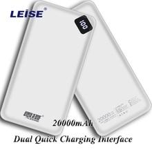 Power Bank 20000mAh Tragbare Aufladen Power Externe Batterie Ladegerät Für Samsung IPhone Xiaomi Mi redmi Kostenloser Kabel