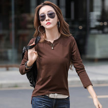 LJSXLS Long Sleeve T Shirt Women Beading Vintage Korean Fashion Clothes 2021 Spring Autumn Tops T-Shirt Cotton Tee Shirt Femme