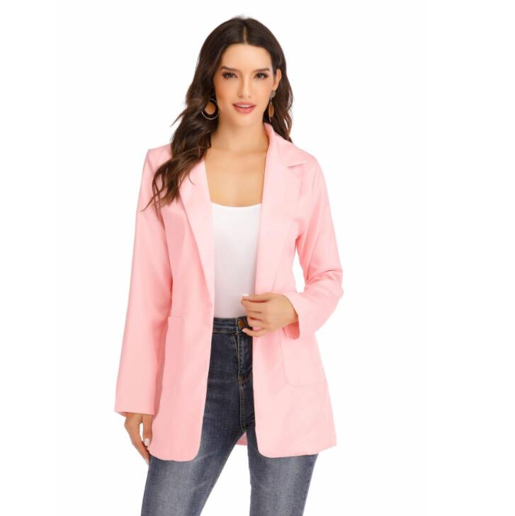 Brand New Arrival 2019 Women Long Sleeve Cardigan Fitted Jacket Suit Work Jacket Medium Lapel Casual Coat Cardigan Small Suit