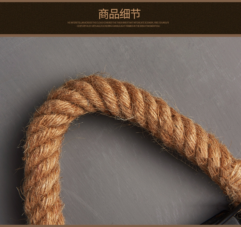 Loft estilo retro corda de cânhamo lâmpada