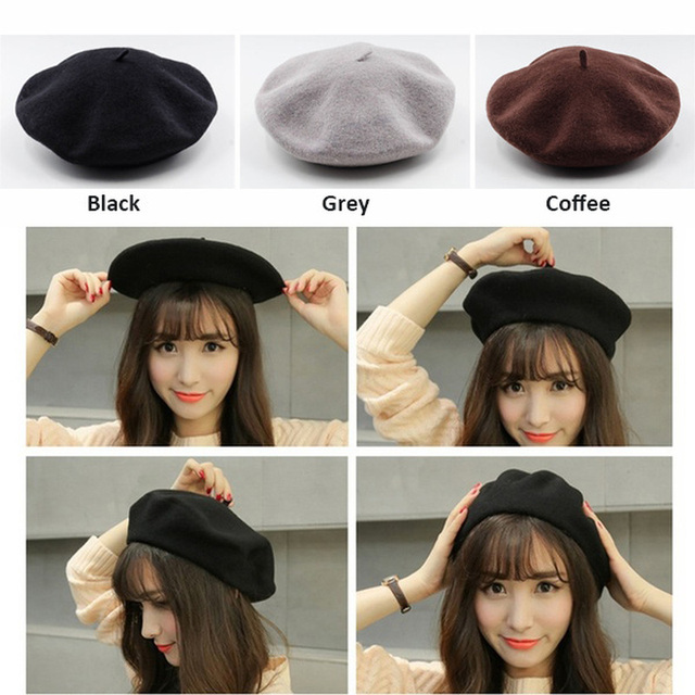 French Style Solid Casual Vintage Beret Plain Wool Warm Winter Caps 2