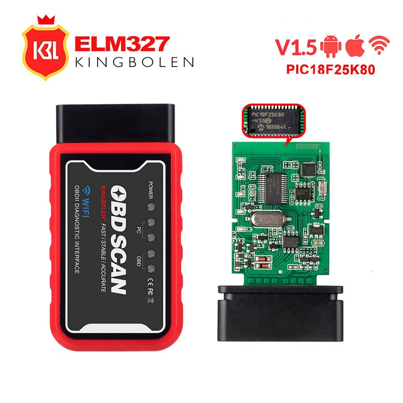 ELM327 Wifi Bluetooth V1 5 PIC18F25K80 Chip OBD2 Code Reader ELM 327 V1 5 OBDII Diagnostic ELM327 Wifi Bluetooth V1.5 PIC18F25K80 Chip OBD2 Code Reader ELM 327 V1.5 OBDII Diagnostic Tool for Android/IOS/PC auto scanner