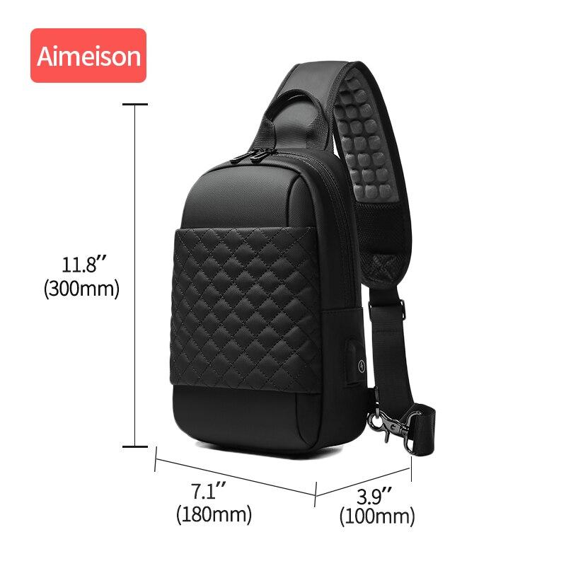 Image 3 - Multifunction Crossbody Bags Men USB Charging Chest Pack Short  Trip Messengers Chest Bag Water Repellent Shoulder Bag Male  -