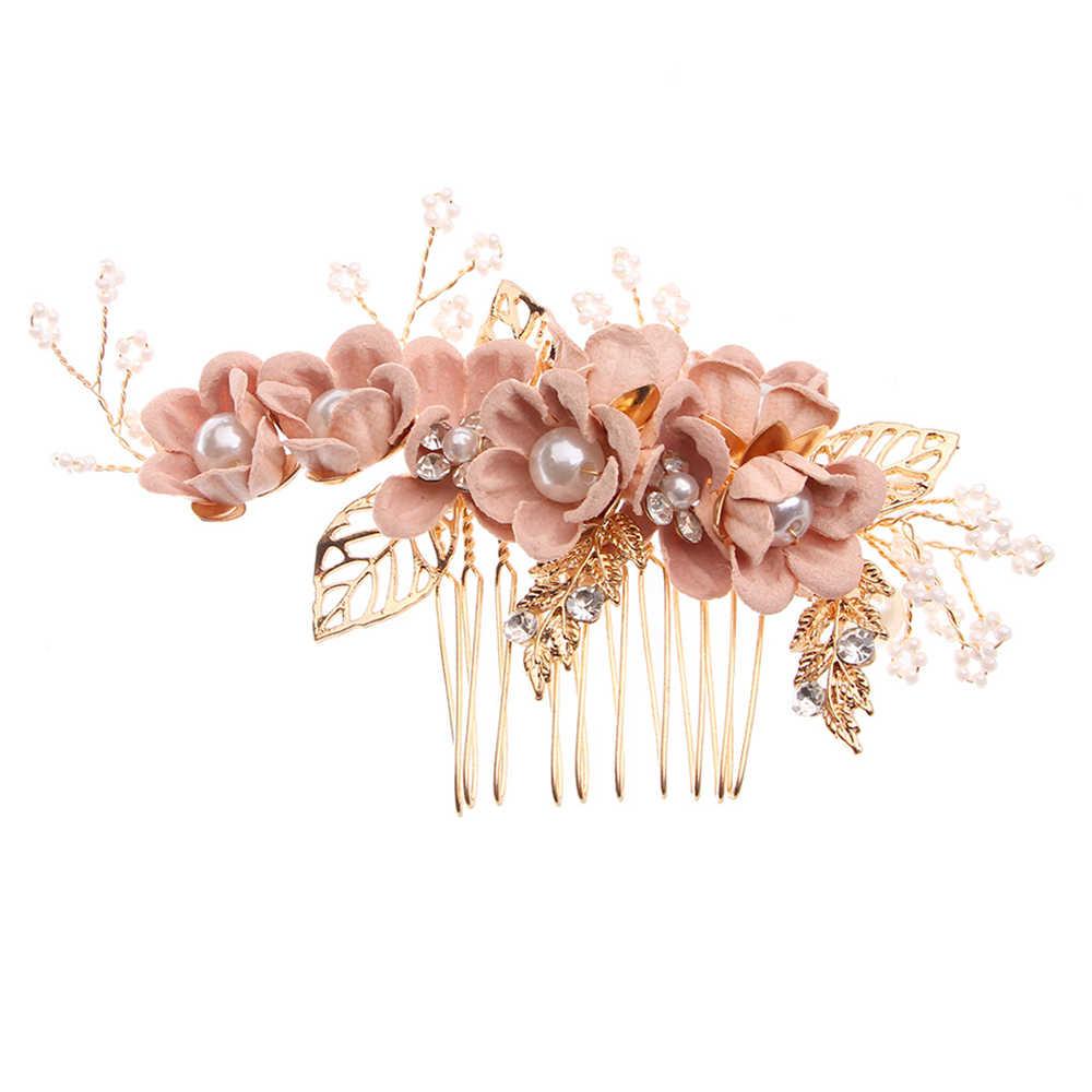 1PC Luxus Blau Rosa Blume Haar Kämme Kopfschmuck Prom Braut Hochzeit Krone Haar Zubehör Gold Blätter Haar Schmuck Haar pins