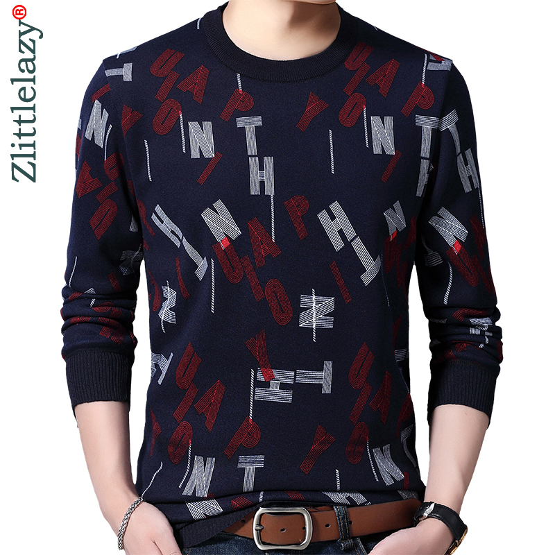 2019 Casual Thick Warm Winter Letter Knitted Pull Sweater Men Wear Jersey Dress Pullover Knit Mens Sweaters Male Fashions 02155