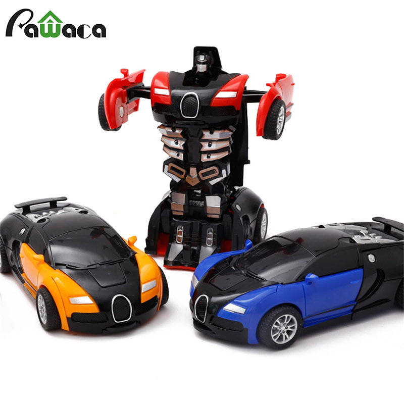 New 4 Style Mini Robot Vehicle Model Action Figures Toy Style Inertial Collision Deformation Car Toys For Kids