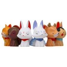 Figurines d'animaux à dessin animé japonais à neuf queues, 6 pièces/lot, renard, lapin, chat, cerf, modèles de décoration, Collection de poupées, jouets pour enfants