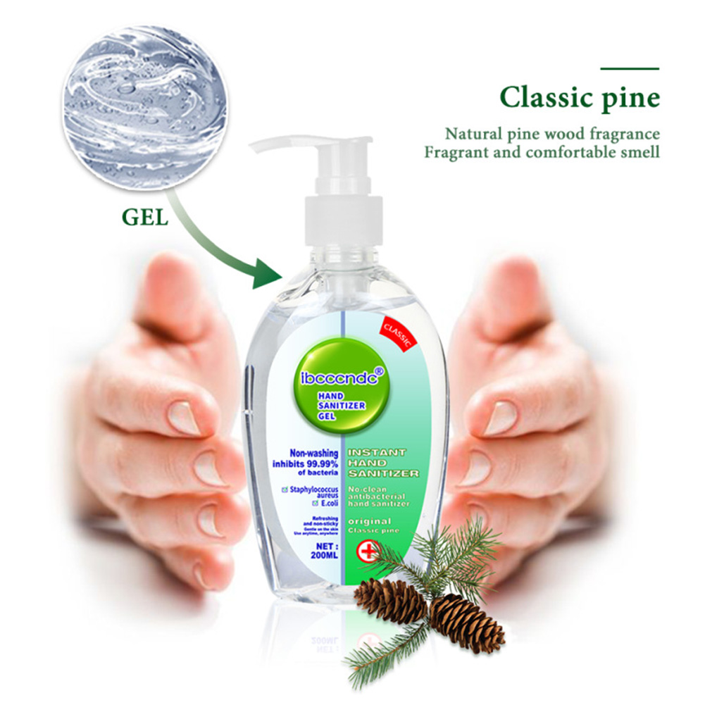 50ml,200ml  75% Quick-drying Alcohol Disposable Hand Sanitizer Hands-Free Water Disinfecting Hand Wash Gel Hot Sale 40p