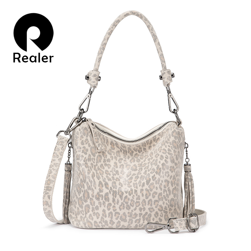 REALER Women Handbags With Top-handle Small Crossbody Bags For Ladies 2020 Genuine Leather Shoulder Bag Leopard Print Leather